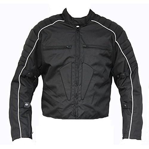 Lemoko Chaqueta de tela para moto color blanco y negro talla S 3XL