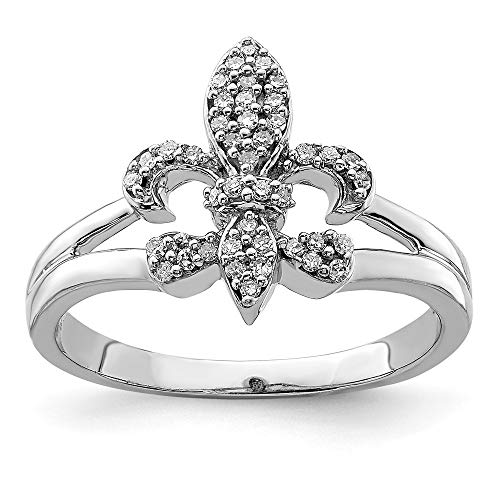 925 Sterling Silver Diamond Fleur De Lis Band Ring Size 7.00 Fine Jewelry Gifts For Women For Her ()