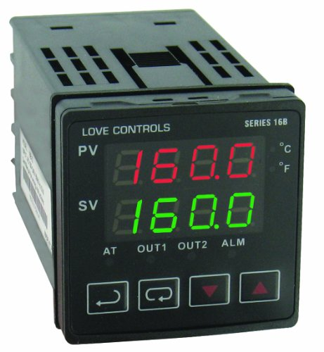 Dwyer Love Series 16B 1 16 DIN Temperature and Process Controller, Relay Outputs 1 and 2