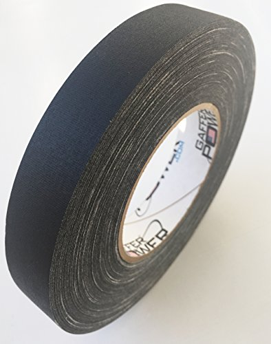 Professional Premium Grade Gaffer Tape - Black 1 in x 60 Yds - Heavy Duty Pro Gaff Tape - Secures Cables, Holds Down Wires Leaves No Sticky Residue Easy to ()