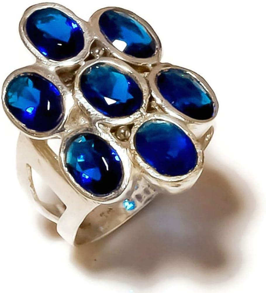 Jewels House Tanzanite Oval Cut Gemstone Silver Plated Handmade Statement Bezel Set Ring US-8.25