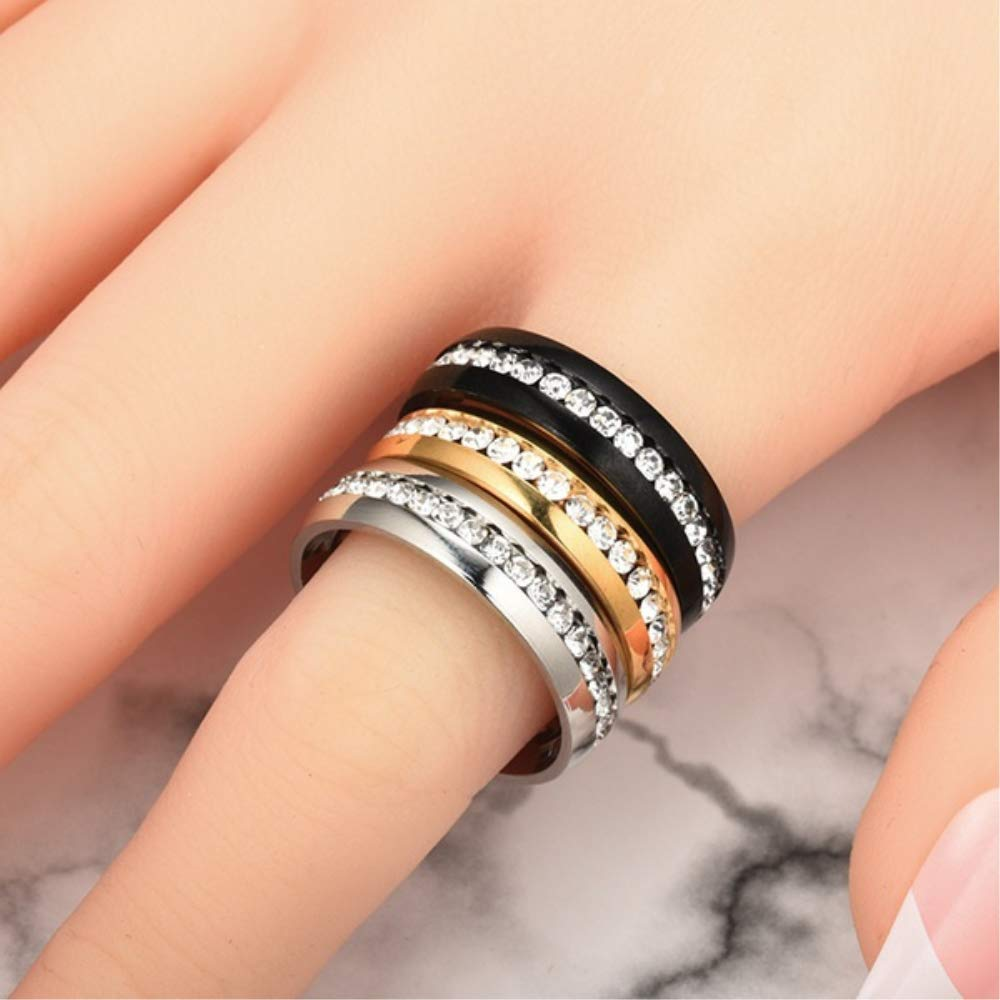 NiuChong Crystal Ring Healthcare Weight Loss Ring Slimming Healthy Stimulating Acupoints Gallstone Ring Magnetic Therapy Love it Black 6