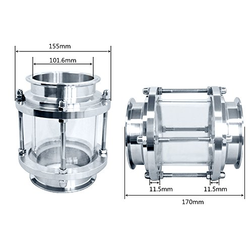 Piupe Flow Stainless Steel SS316 Sanitary Sight Glass Tri Clamp Type (4''-102MM) by Piupe (Image #4)
