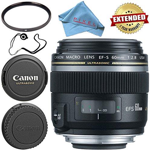 Canon EF-S 60mm f/2.8 Macro USM Lens 0284B002 + 52mm UV Filter + Fibercloth + Lens Capkeeper Bundle