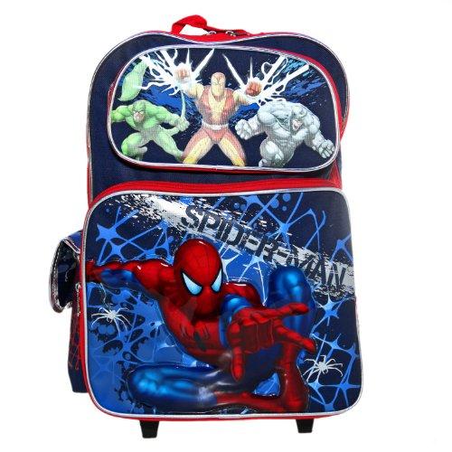 Ruz Spider-Man Blue Web Roller Backpack