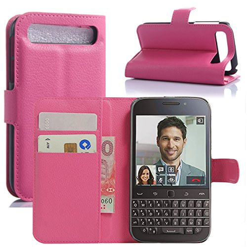 BlackBerry Classic Case, Fettion Premium PU Leather Wallet Flip Phone Protective Case Cover with Card Slots and Magnetic Closure for BlackBerry Classic Q20 Smartphone (Wallet - Rose)