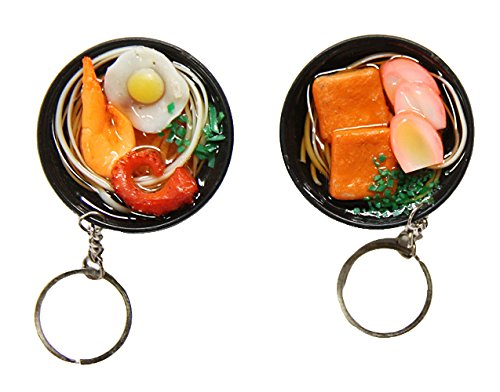 GLOBAL BOX Japanese Food Noodle Keychain Charm Cellphone Bag Strap set of 2 (Soba)