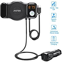 JASTEK FM Transmitter Bluetooth Receiver and Car Phone Mount with USB Car Adapter Handsfree Car Kit - Black