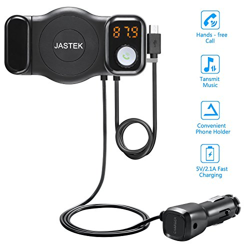 JASTEK FM Transmitter Bluetooth Receiver and Car Phone Mount with USB Car Adapter Handsfree Car Kit - Black