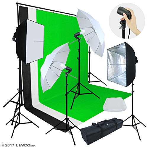 Linco Lincostore Photo Video Studio Light Kit AM174 – Including 3 Color 5x10ft Backdrops (Black/Whtie/Green) Background Screen