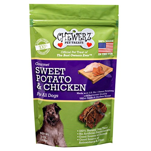 Chewerz SWEET POTATO & CHICKEN JERKY DOG TREATS – 100% Made in USA Only – A Healthy, Grain Free, All Natural Pet Snack For Dogs – 13 Ounce