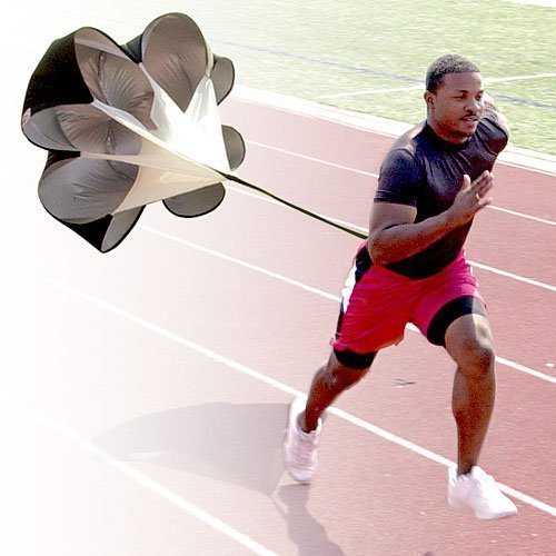 StillCool Running Speed Training Parachute, 56 inch Drills Speed Training Resistance Running Parachute Chute Football Soccer Drilling & Fitness Explosive Power Training(Black)
