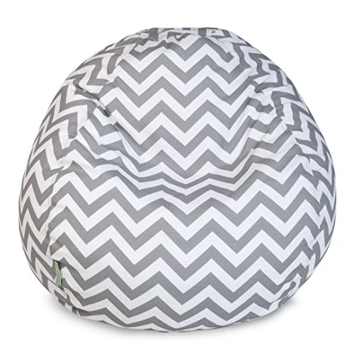 Majestic Home Goods 81001093242 Chevron Large Classic Bean Bag Chair Gray