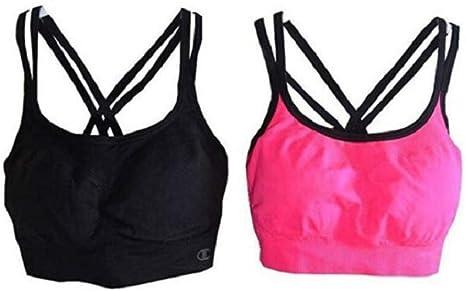 2 pack Black // Pink Champion Women/'s Seamless Criss Cross Bras