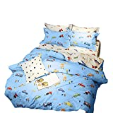 BuLuTu Cartoon Sports Cars Print Boys Duvet Cover Set Twin Cotton Blue/Darker White,Red Yellow Green Trucks Transport Vehicles Reversible Kids Bedding Sets Twin Comforter Cover Zipper,NO Comforter