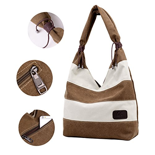 Hobo Purse Travel Canvas Shopping ABage Women's Shoulder Grey Beach Handbag Stripes Bag gOwRWTqA
