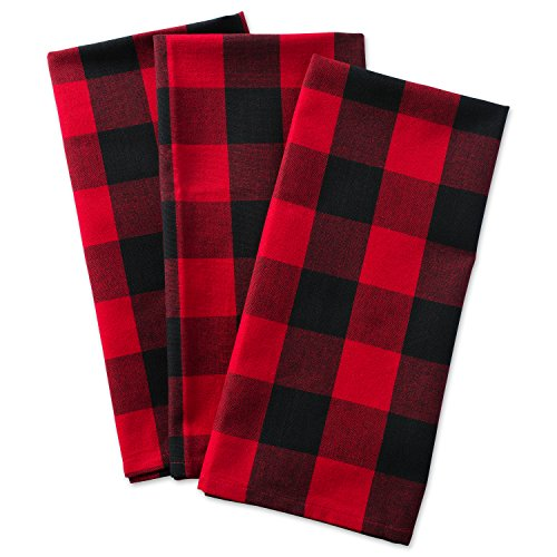 Towel Dish Plaid (DII Cotton Buffalo Check Plaid Dish Towels, (20x30, Set of 3) Monogrammable Oversized Kitchen Towels for Drying, Cleaning, Cooking, Baking - Red & Black)