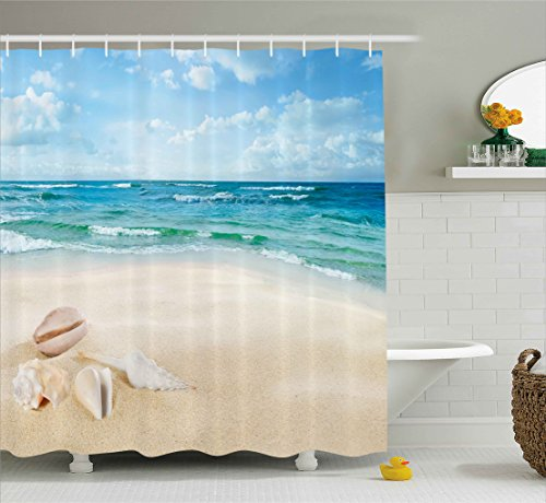 Ocean Decor Shower Curtain by Ambesonne, Beach Sand Waves Sealife Marine Decor with Shels Hot Summer Sun Print, Fabric Bathroom Decor Set with Hooks, 70 Inches, Teal Blue - Sea Shel