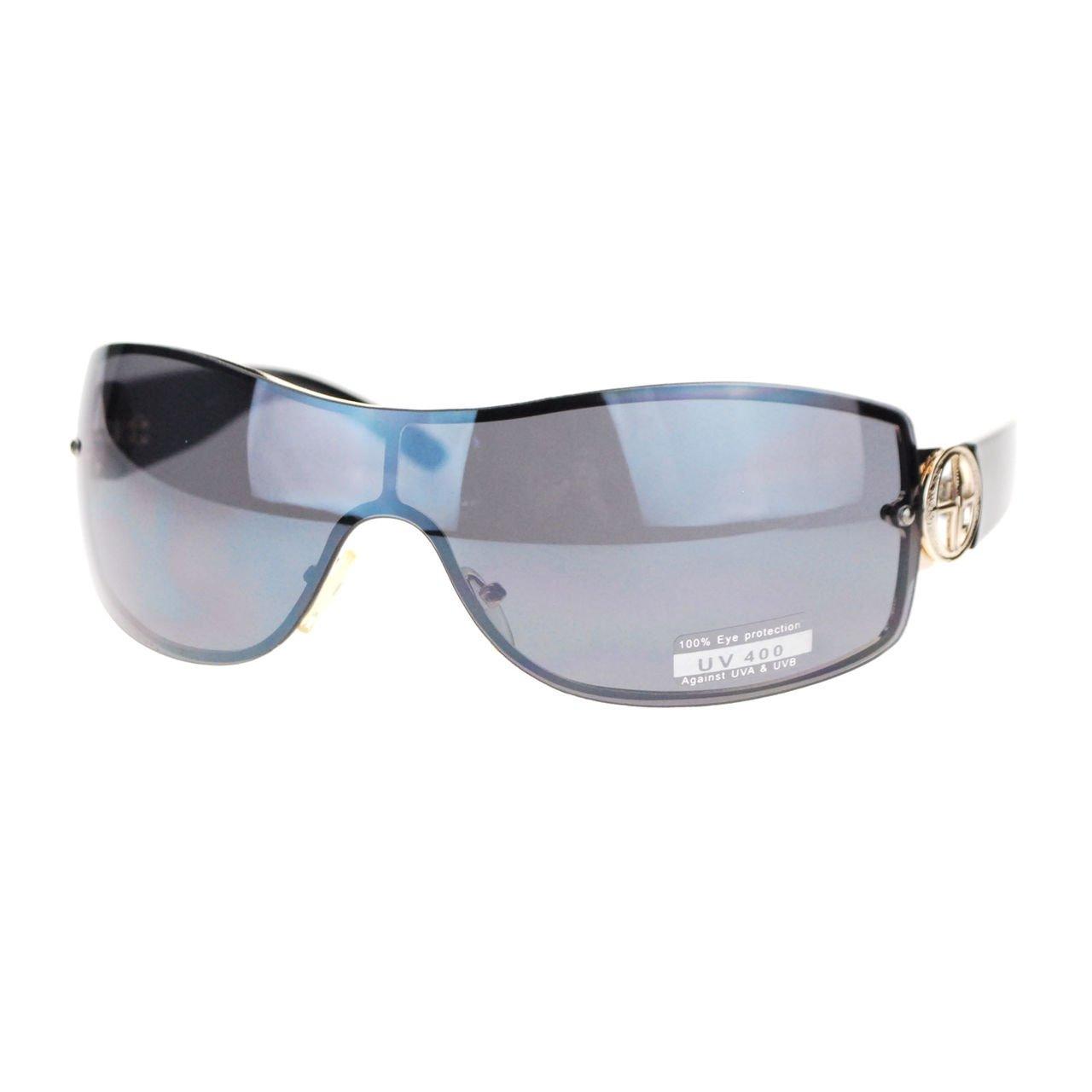 Womens Elegant Rimless Shield Warp Luxury Designer Sunglasses j9719-gdbrn-mf