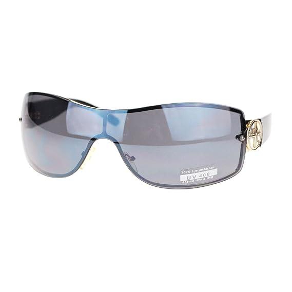 Womens Elegant Rimless Shield Warp Luxury Designer Sunglasses