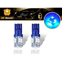 LED Monster 2-Pack Blue 5SMD LED Bulbs 194 168 T10 2825 Car Dome Map License Plate Lights Lamp (Blue)