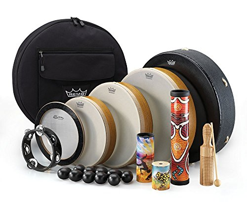 Remo DP0250-00 21-Piece Drum Set Assorted Travel Percussion Pack from Other