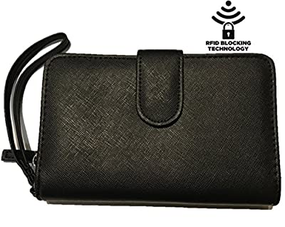 Mundi All In One Womens RFID Blocking Clutch Checkbook Wallet With Safe Keeper Technology
