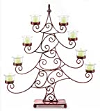 21.5'' Decorative Red Whimsical Christmas Tree Votive Candle Holder