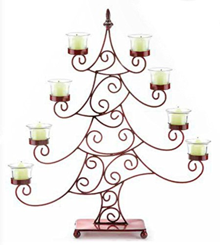 21.5'' Decorative Red Whimsical Christmas Tree Votive Candle Holder by CC Christmas Decor