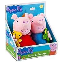Peppa Pig George with Dinosaur & Peppa with Teddy Soft Plush Toy Set