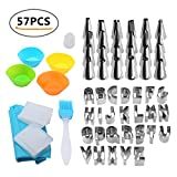 Pawaca Cake Mould Sets Stainless Steel 26 Letters Cookies Shaper 24 Nozzles with Icing Bag Muffin Cupcake Mold Cake Brush for Home Kitchen Bakeware Set Tools
