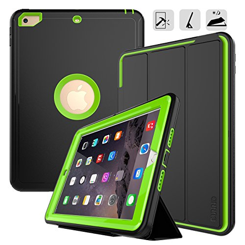 New iPad 9.7 2017/2018 case - DUNNO Three Layer Heavy Duty Full Body Protective Stand Case for Apple iPad 9.7 inch 2017/2018 Model(A1893/A1954/A1822/A1823) (Black+Green) - New Black Green