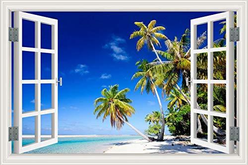 1 piece Summer Beach Coconut Tree 3D Window View Sticker Beach Theme Wall Murals Art Removable Vinyl Decals for Living Room Wall Decor]()