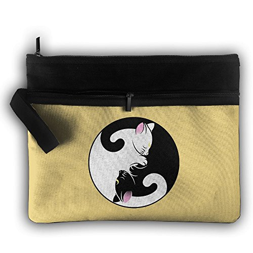 YIN YANG CATS Multifunction Storage Bag Buggy Bag Travel Cosmetic Bags Double Zipper Small Makeup Clutch Pouch Cosmetic And Toiletries Organizer Bag ()