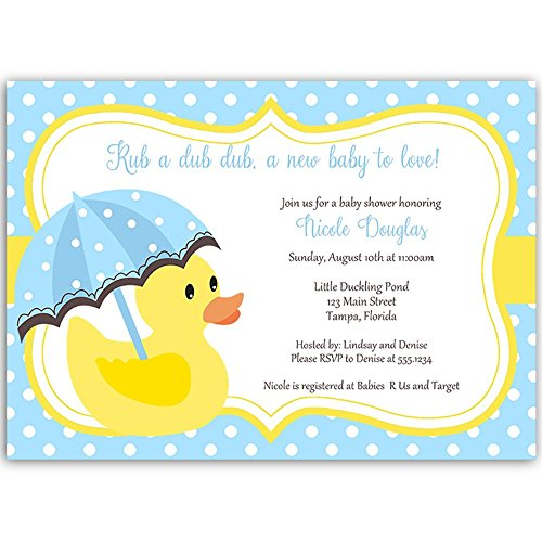 Duck Baby Shower Invitations Rubber Ducky Sprinkle Invites Little Duck Polka Dots Blue Boys It's A Boy Yellow Umbrella (10 Count)]()