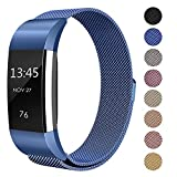 """Fitbit Charge 2 Milanese Bands Metal Black, Swees Replacement Small & Large (5.5"""" - 9.9"""") Stainless Steel Magnetic Wristband Bracelet Watch Band for Fitbit Charge 2, Rose Gold, Silver, Gold"""