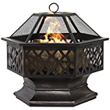 Outdoor Hex Shaped Fire Pit Garden Backyard Firepit Bowl Fire Log