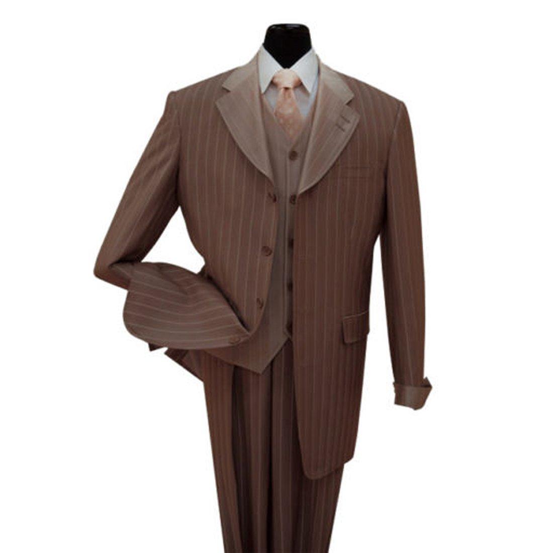 Milano Moda Men's 3 piece Luxurious Classic Gangster Pinstripe Wool Feel Suit 2911 by Milano Moda
