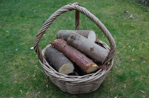 Robust Ash Wicker Log Carrying Basket, Ash, Wicker by Thyme & Season
