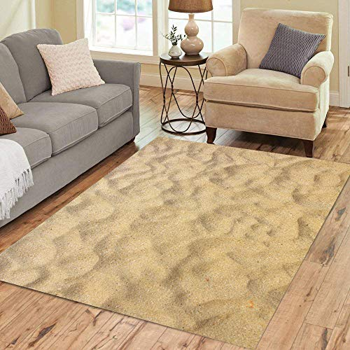 Pinbeam Area Rug Beige Desert Sand Sandy Beach for Top View Home Decor Floor Rug 3' x 5' Carpet