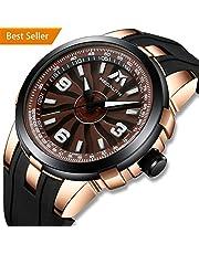MEGALITH Herren Uhren Männer Militär Schwarz Wasserdicht Sport Große Drehbares Zifferblatt Armbanduhr Mann Designer Leuchtende Analoge Gummi Uhr