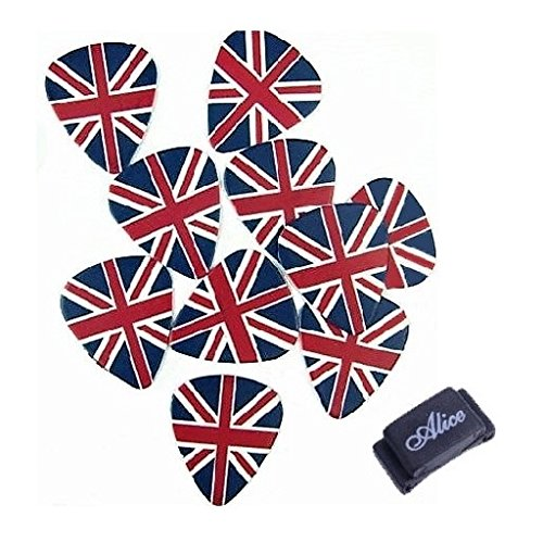 British Guitar (Guitar Picks. British England Flag themed Design, Two Sides. Thick 1.0mm. 10 pcs. + Free Picks Holder. From Magik Fulfillment.)