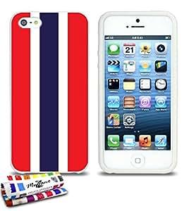 Carcasa Flexible Ultra-Slim APPLE IPHONE 5S / IPHONE SE de exclusivo motivo [Bandera Tailanda ] [Blanca] de MUZZANO  + ESTILETE y PAÑO MUZZANO REGALADOS - La Protección Antigolpes ULTIMA, ELEGANTE Y DURADERA para su APPLE IPHONE 5S / IPHONE SE