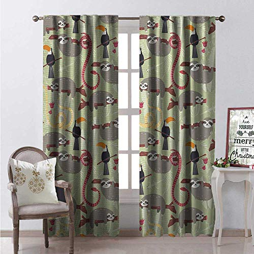 Hengshu Sloth Blackout Window Curtain Amazon Rainforest Inhabitants Toucans Whipsnakes and Sloths Animals of South America Customized Curtains W84 x L96 Multicolor ()