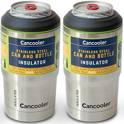 #1 CanCooler Beverage Insulator (2-pack) – Fits 12 oz Can and Bottles – Stainless Steel Double Wall Vacuum Koozie Keeps Beer and Soft Drinks Ice Cold