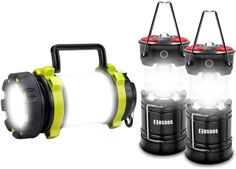 COSOOS 2 Pack Rechargeable Lantern & Lantern Flashlight Bundle, Water Resistant Flashlight Perfect for Camping, Hiking, Power Outage, Hurricane.
