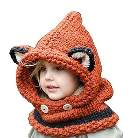 Animal Fox Hat Ear Protector Warm Cute Children Handmade Knit Hat Autumn And Winter Bib Gray 45Cm58cm WenweiTrade