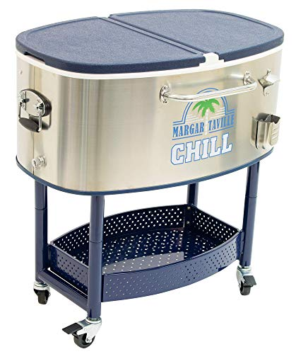 Margaritaville 77 Quart Oval Stainless Steel Outdoor Cooler with Wheels - Margaritaville Chill, 22