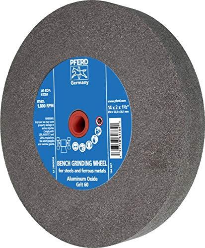PFERD 61784 Bench Grinding Wheel, Aluminum Oxide, 14'' Diameter, 2'' Thick, 1-1/2'' Arbor Hole, 60 Grit, 1800 Maximum RPM