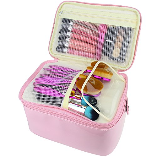 Travelmall 2 layer Large Capacity Cosmetic Makeup Brush organizer with Belt Strap Holder Multifunctional makeup Bag for Travel Home pink